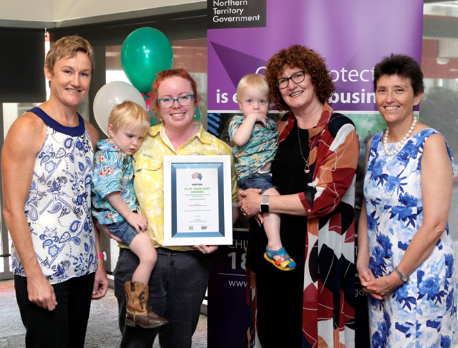 L-R, NT Children's Commissioner Colleen Gwynne, Amanda Tootell from Katherine Isolated Children's Services with her sons Flynn and Liam, Lesley Taylor NAPCAN and Anne Bradford CEO at Department of Children and Families